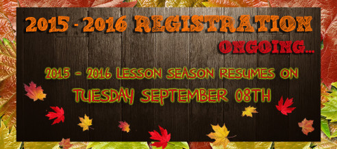 2015 – 2016 Lesson Season Begins September 08th!